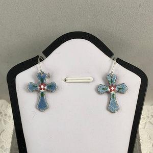 Vintage Blue Enamel Guilloche Cross Drop Earrings